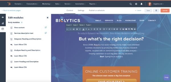 hubspot-verkkosivut-editointi