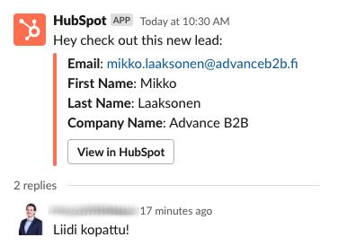 HubSpot-notifikaatio-Slackissa